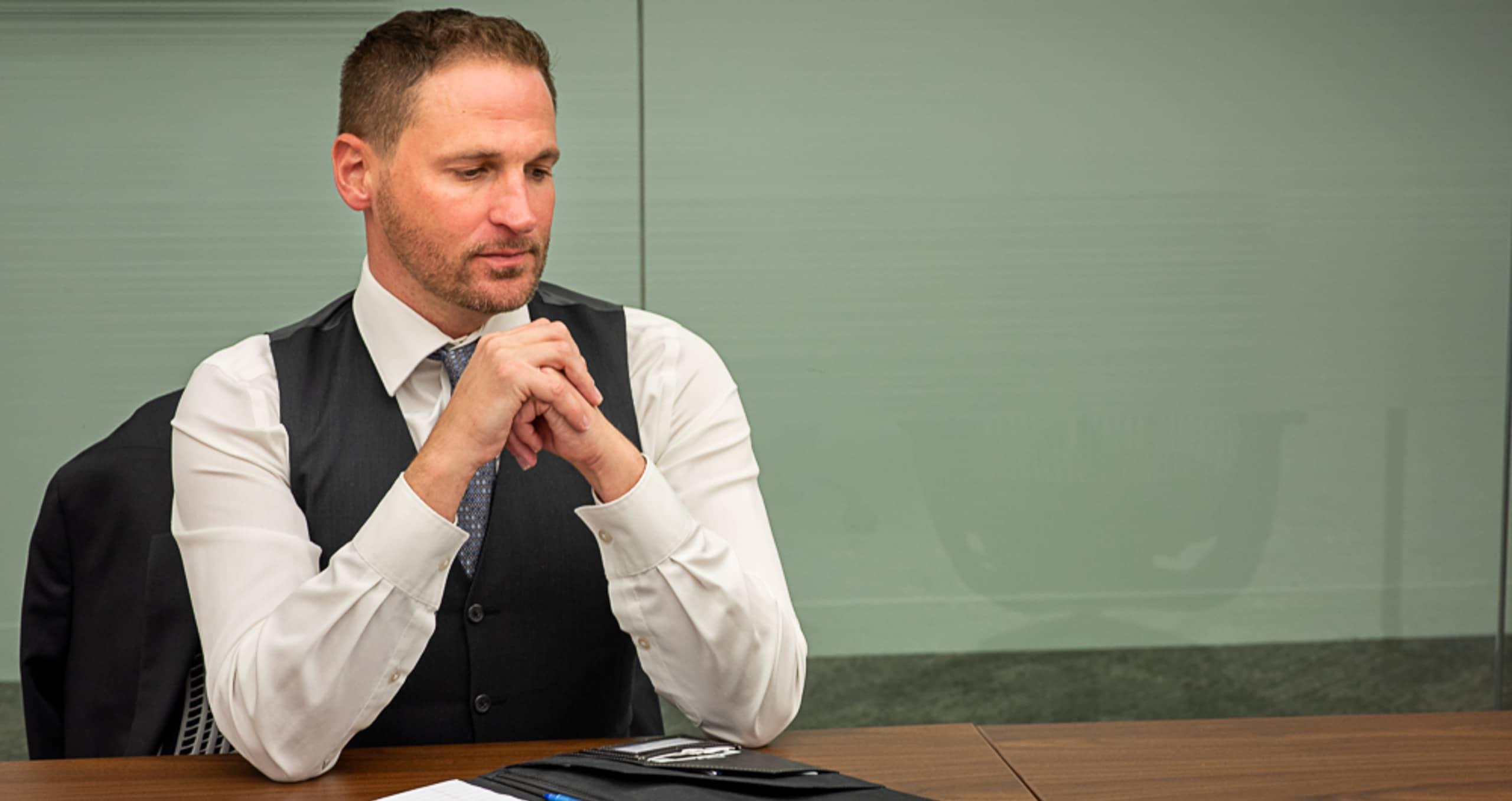 Attorney sitting at desk